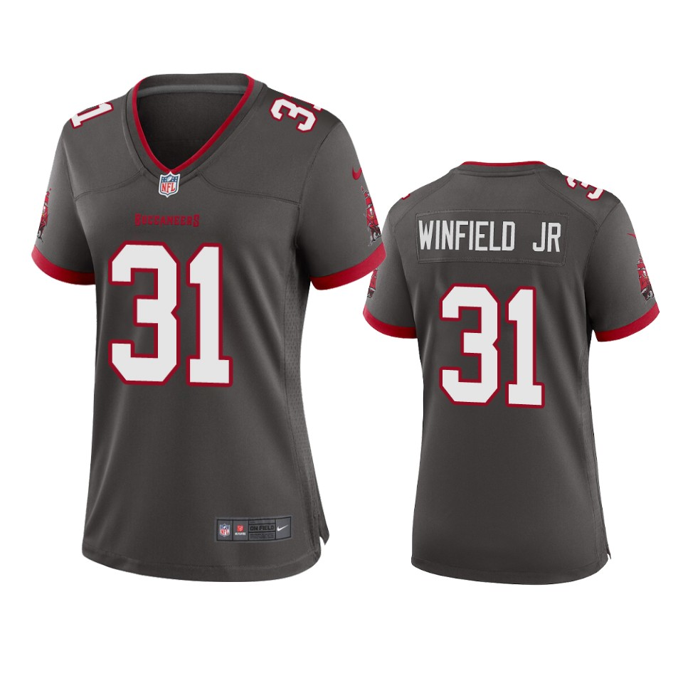 Nike women Tampa Bay Buccaneers 31 Antoine Winfield Jr. Pewter 2020 NFL Draft Alternate Game Jersey