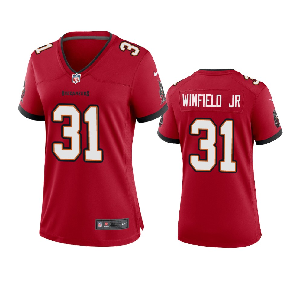 Nike women Tampa Bay Buccaneers 31 Antoine Winfield Jr. Red 2020 NFL Draft Game Jersey