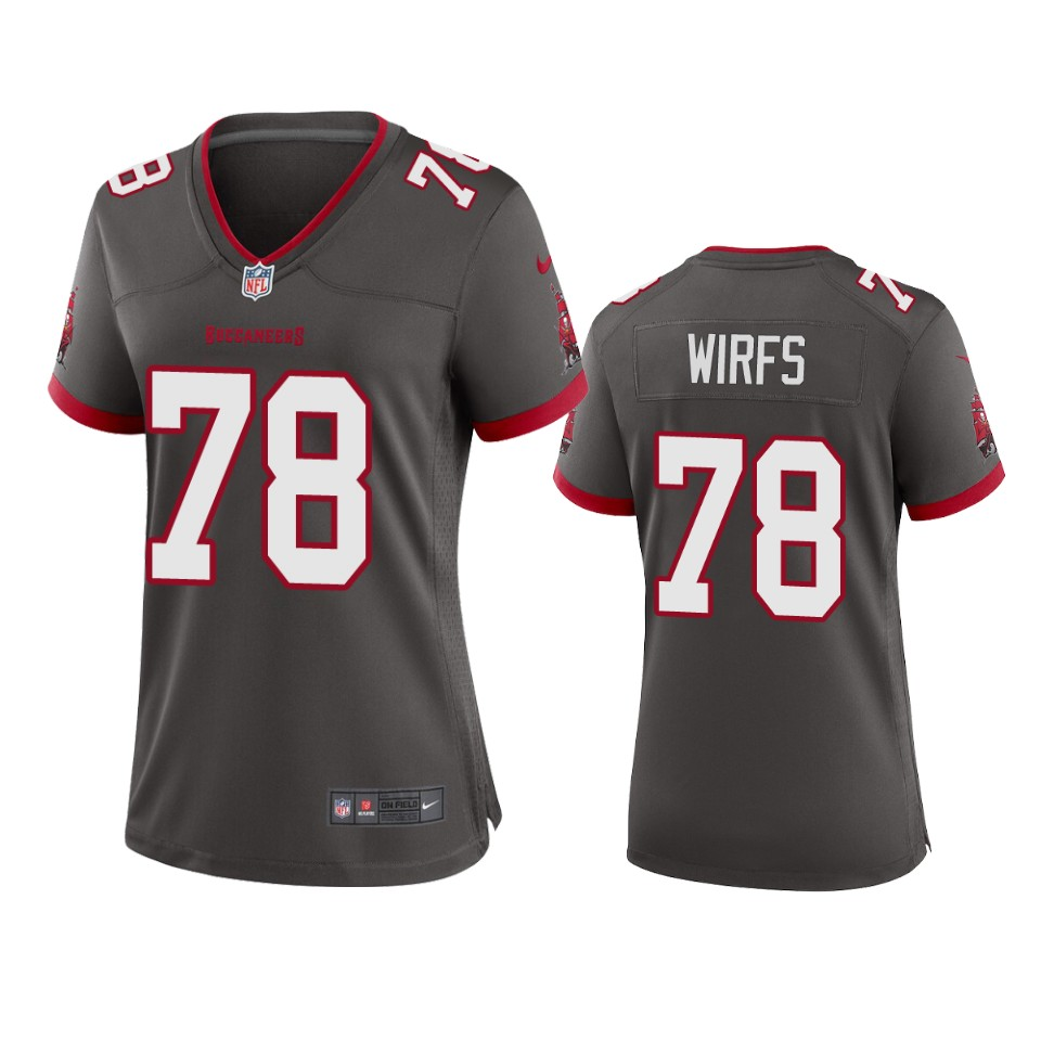 Nike women Tampa Bay Buccaneers 78 Tristan Wirfs Pewter 2020 NFL Draft Alternate Game Jersey