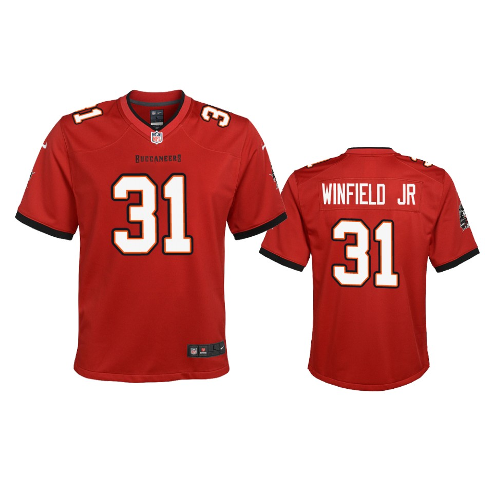 Nike youth Tampa Bay Buccaneers 31 Antoine Winfield Jr. Red 2020 NFL Draft Game Jersey