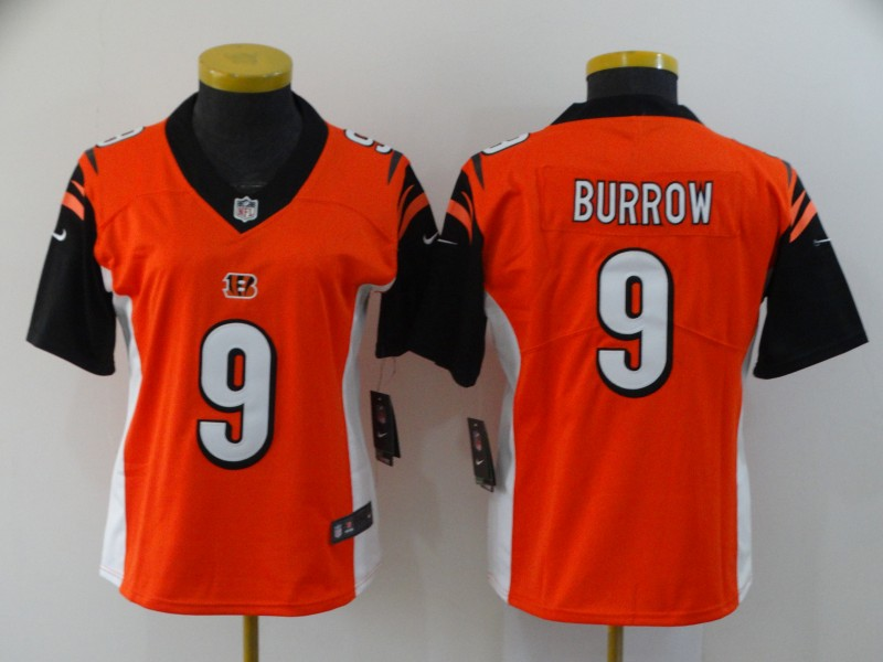 Women Cincinnati Bengals 9 Burrow orange Nike Vapor Untouchable Stitched Limited NFL Jerseys
