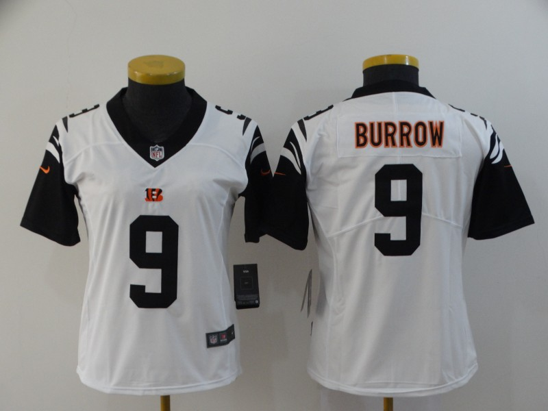 Women Cincinnati Bengals 9 Burrow white Nike Vapor Untouchable Stitched Limited NFL Jerseys