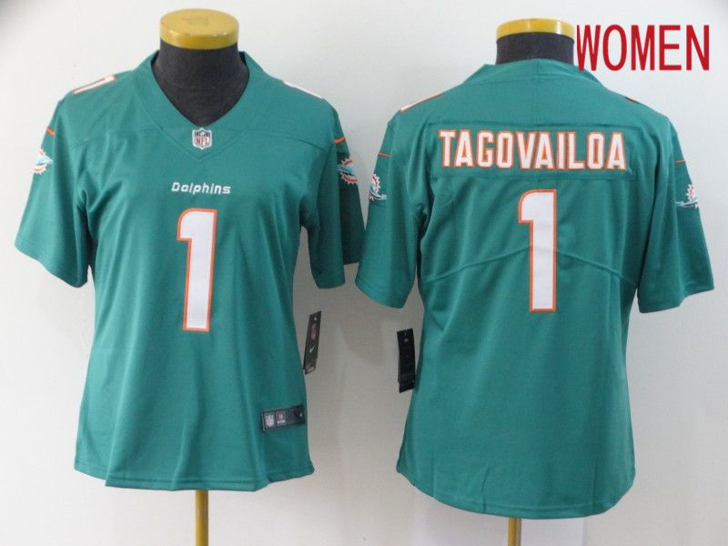 Women Miami Dolphins 1 Tagovailoa Green Nike Vapor Untouchable Stitched Limited NFL Jerseys