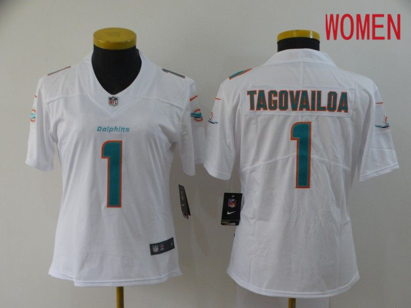 Women Miami Dolphins 1 Tagovailoa White Nike Vapor Untouchable Stitched Limited NFL Jerseys