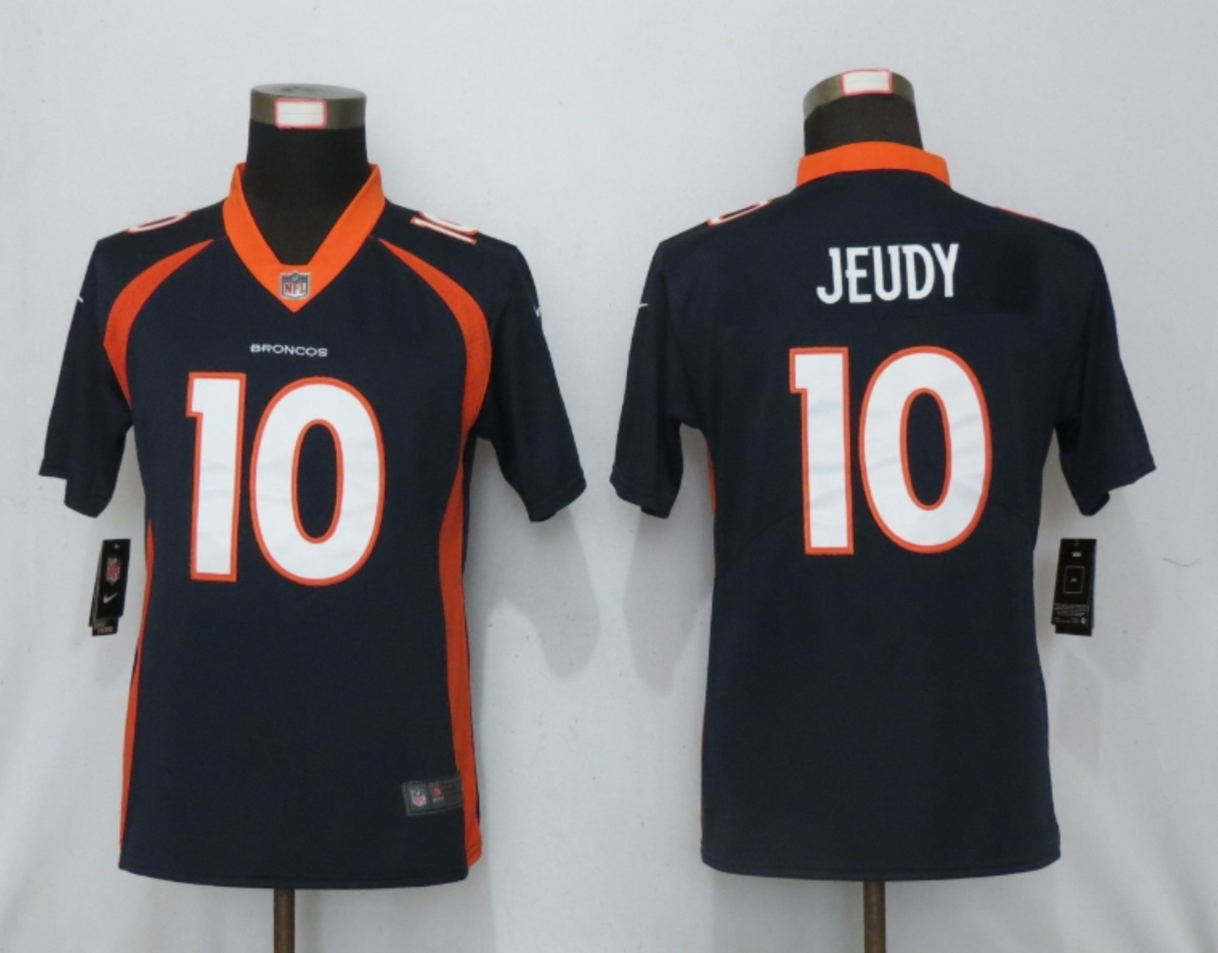 Women NEW Nike Denver Broncos 10 Jeudy Nike Blue Alternate Vapor Elite Playe