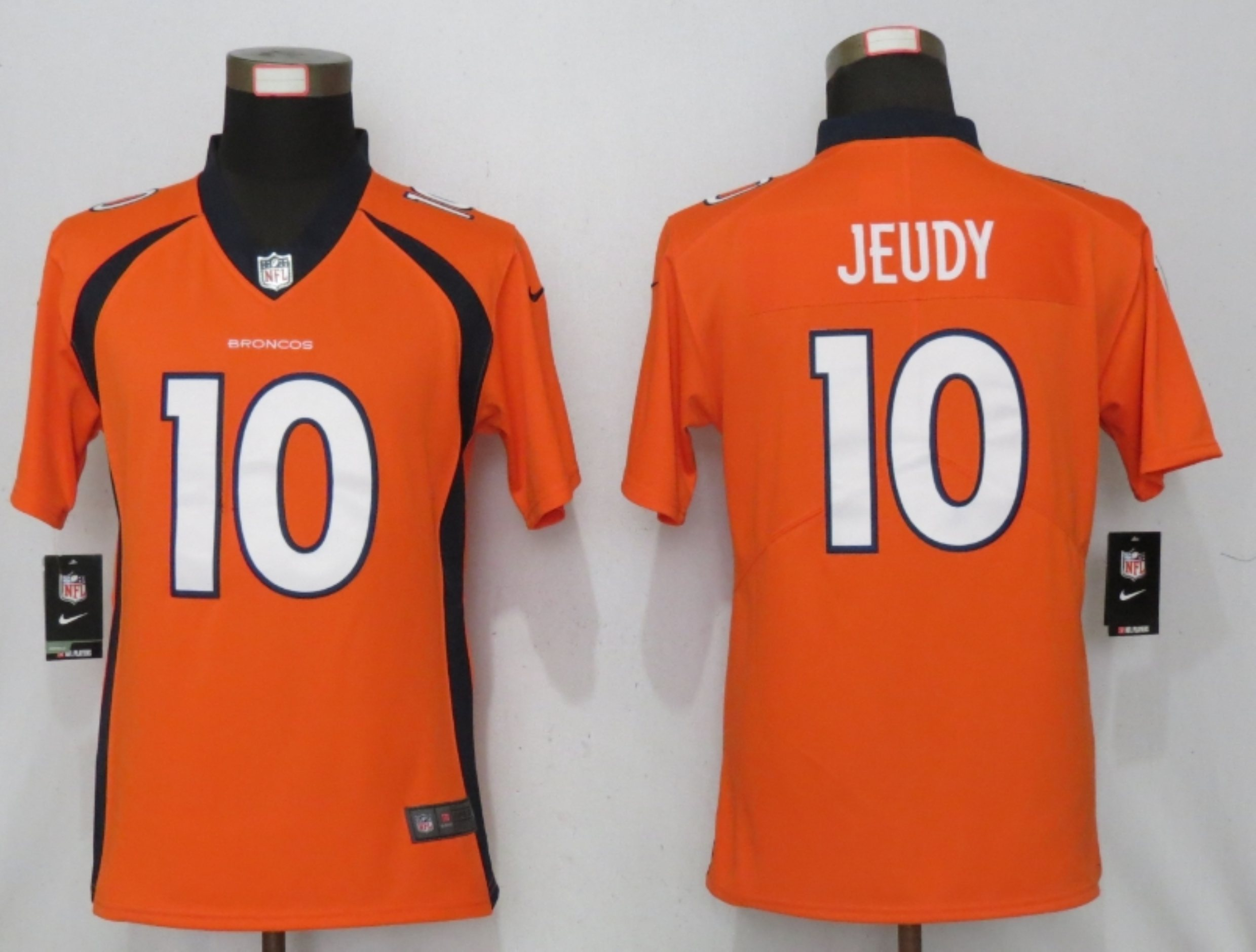 Women NEW Nike Denver Broncos 10 Jeudy Nike Orange Alternate Vapor Elite Playe