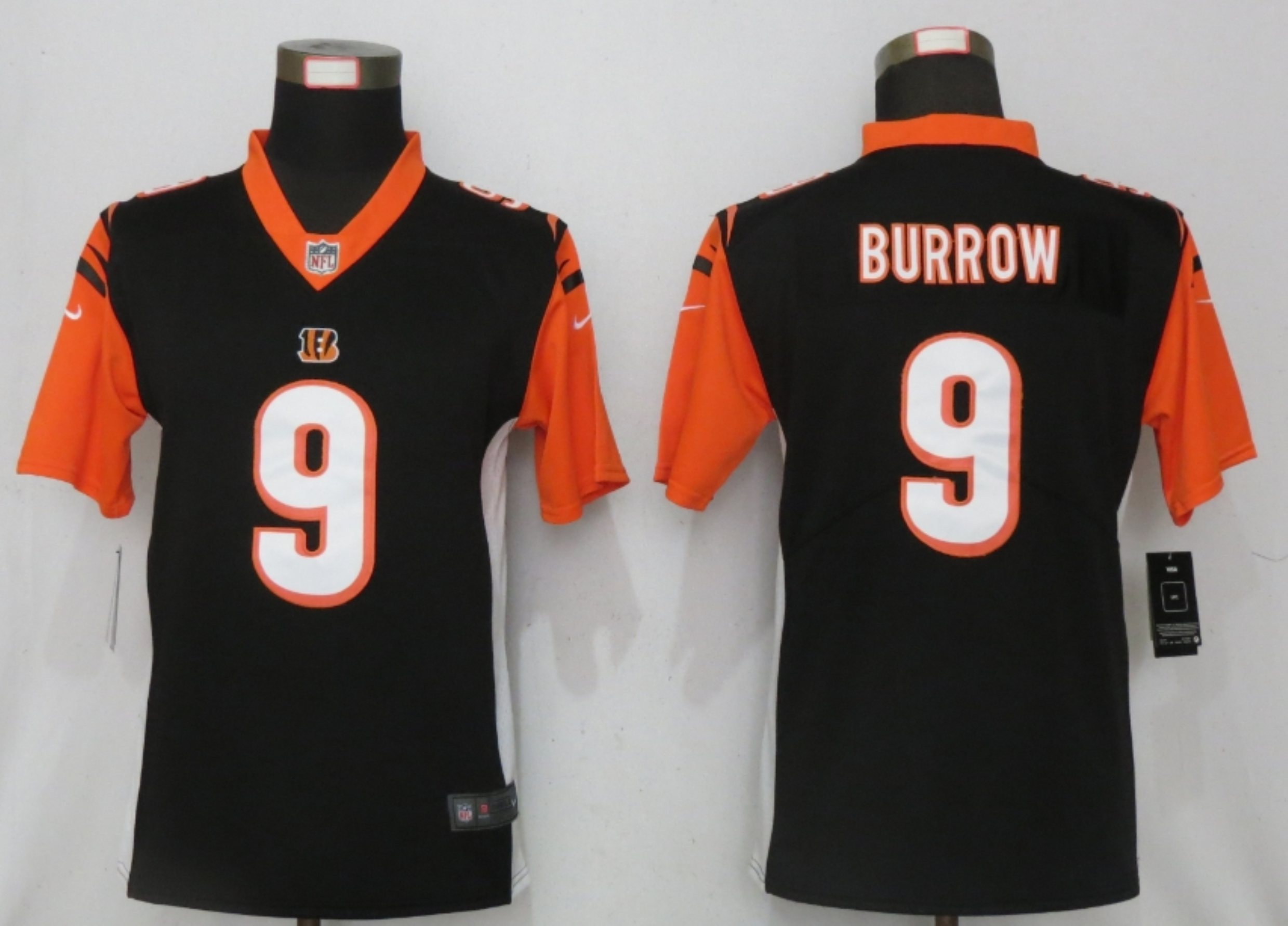 Women New Nike Cincinnati Bengals 9 Burrow Nike Black NFL 100 Alternate Vapor Elite Playe
