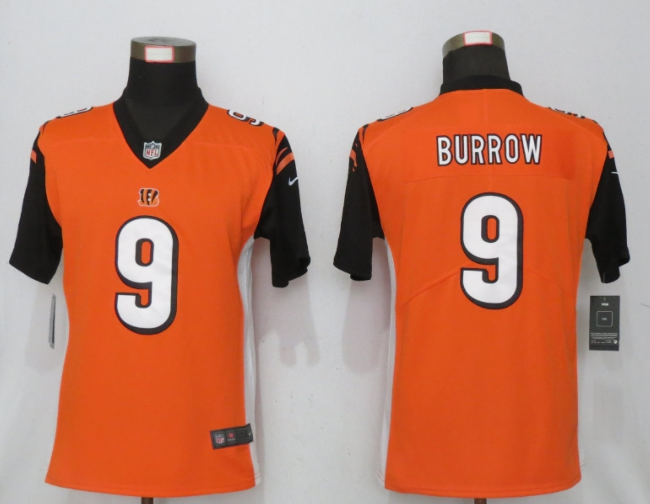 Women New Nike Cincinnati Bengals 9 Burrow Nike Orange NFL 100 Alternate Vapor Elite Playe