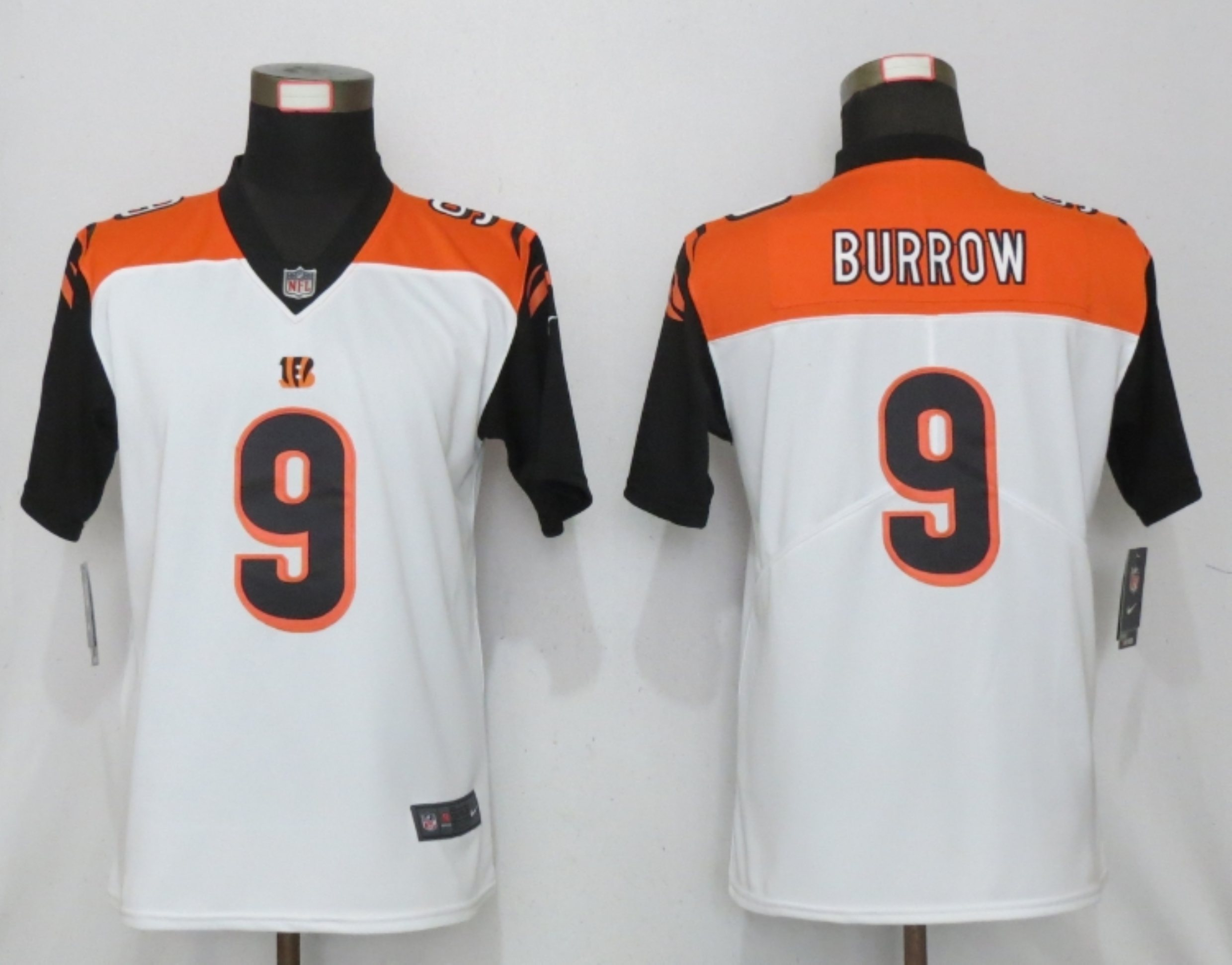 Women New Nike Cincinnati Bengals 9 Burrow Nike White NFL 100 Alternate Vapor Elite Playe