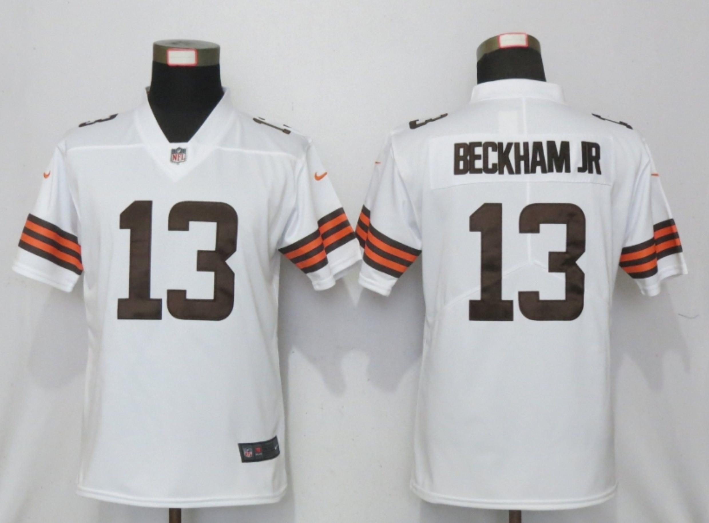 Women New Nike Cleveland Browns 13 Beckham jr White Vapor Elite Playe