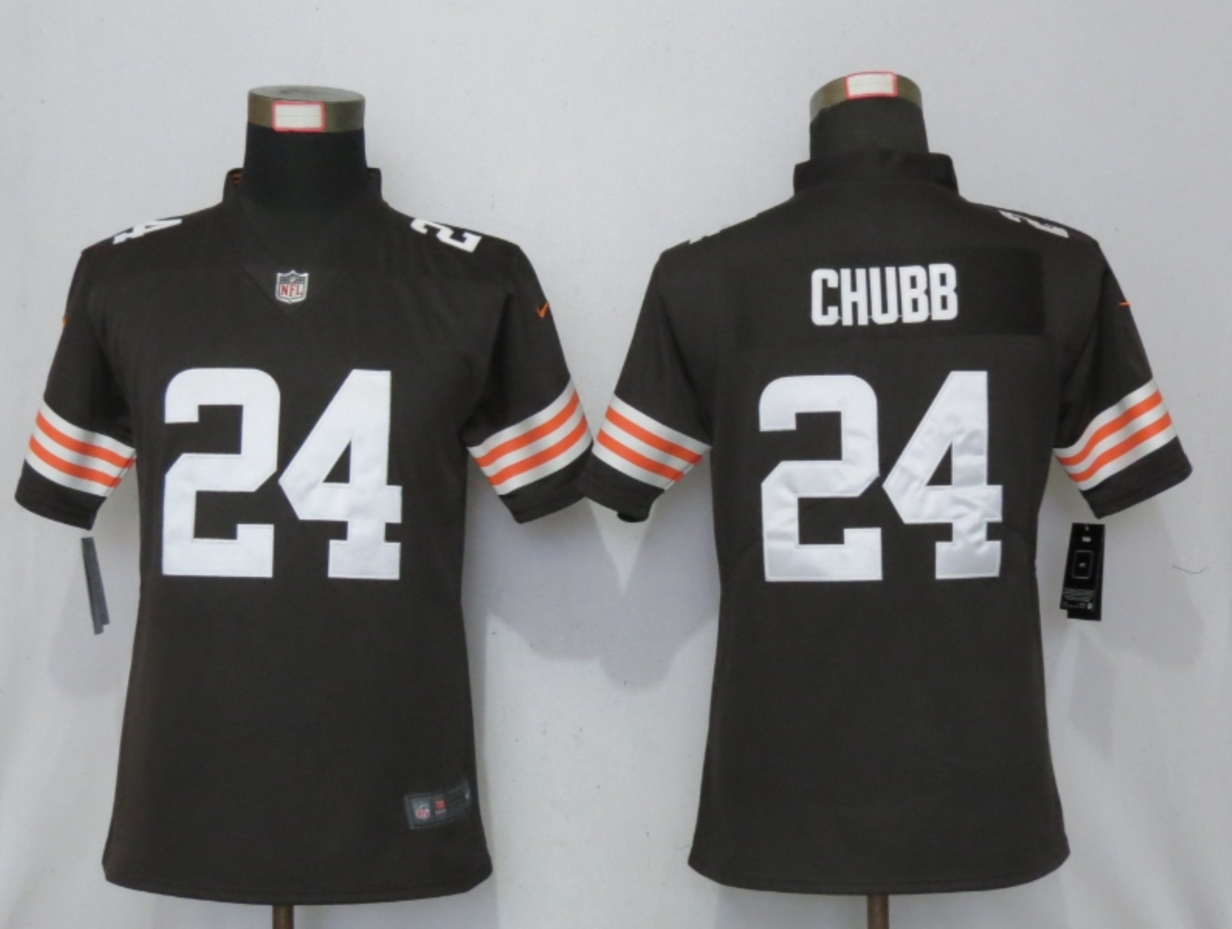 Women New Nike Cleveland Browns 24 Chubb Brown Vapor Elite Playe