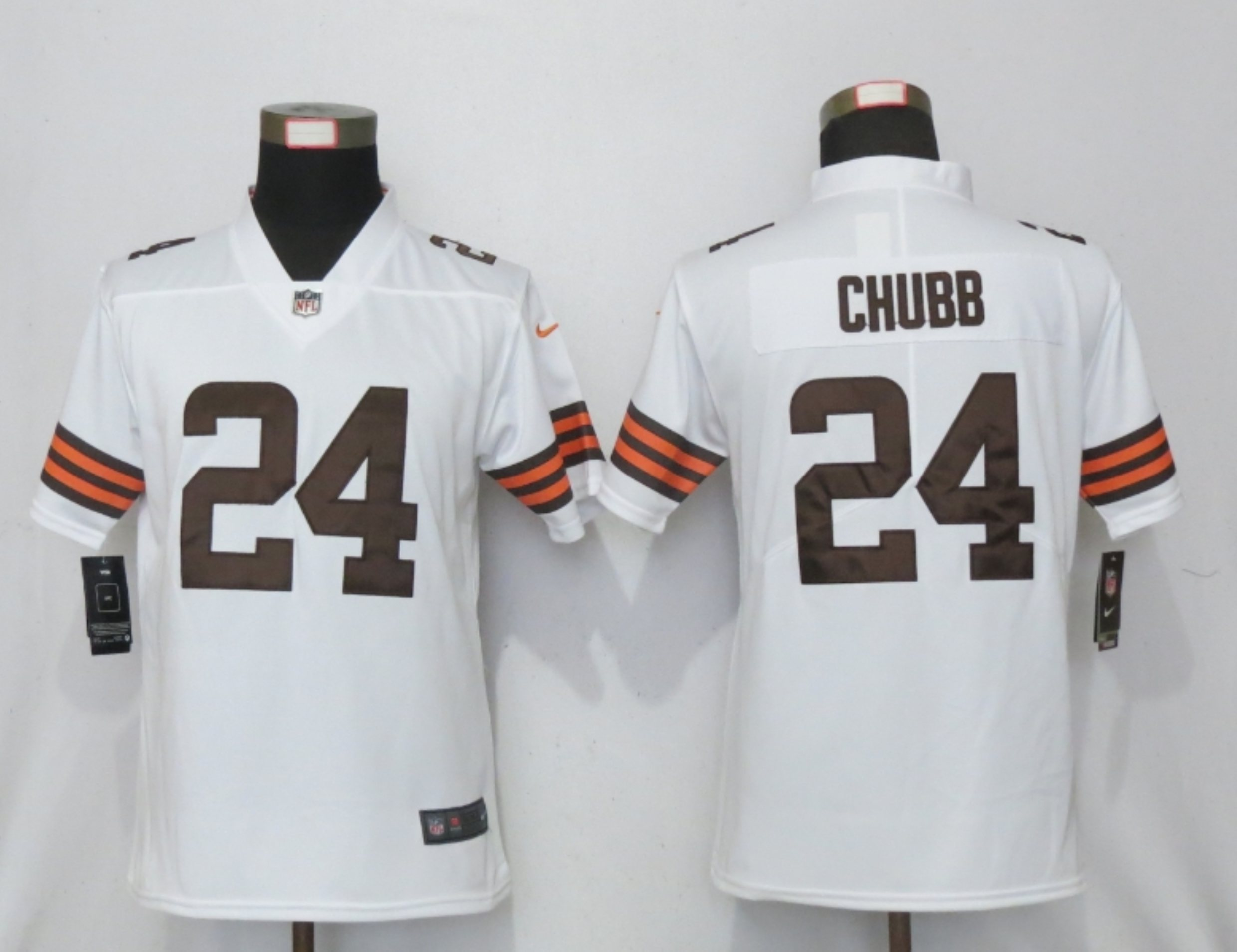 Women New Nike Cleveland Browns 24 Chubb White Vapor Elite Playe
