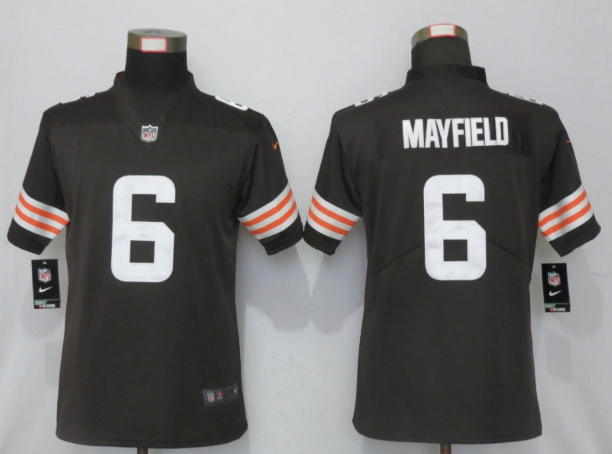 Women New Nike Cleveland Browns 6 Mayfield Brown Vapor Elite Playe