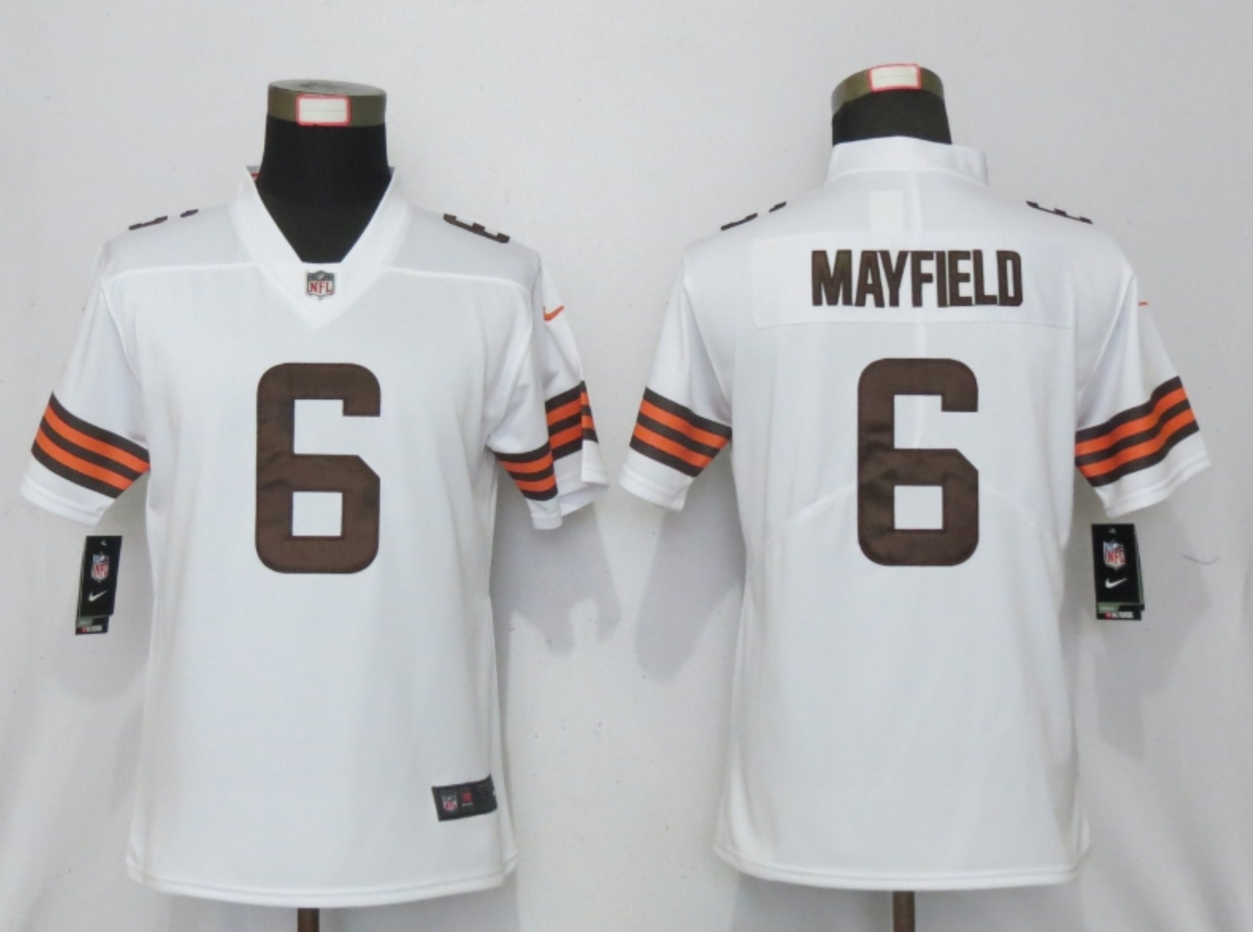 Women New Nike Cleveland Browns 6 Mayfield White Vapor Elite Playe