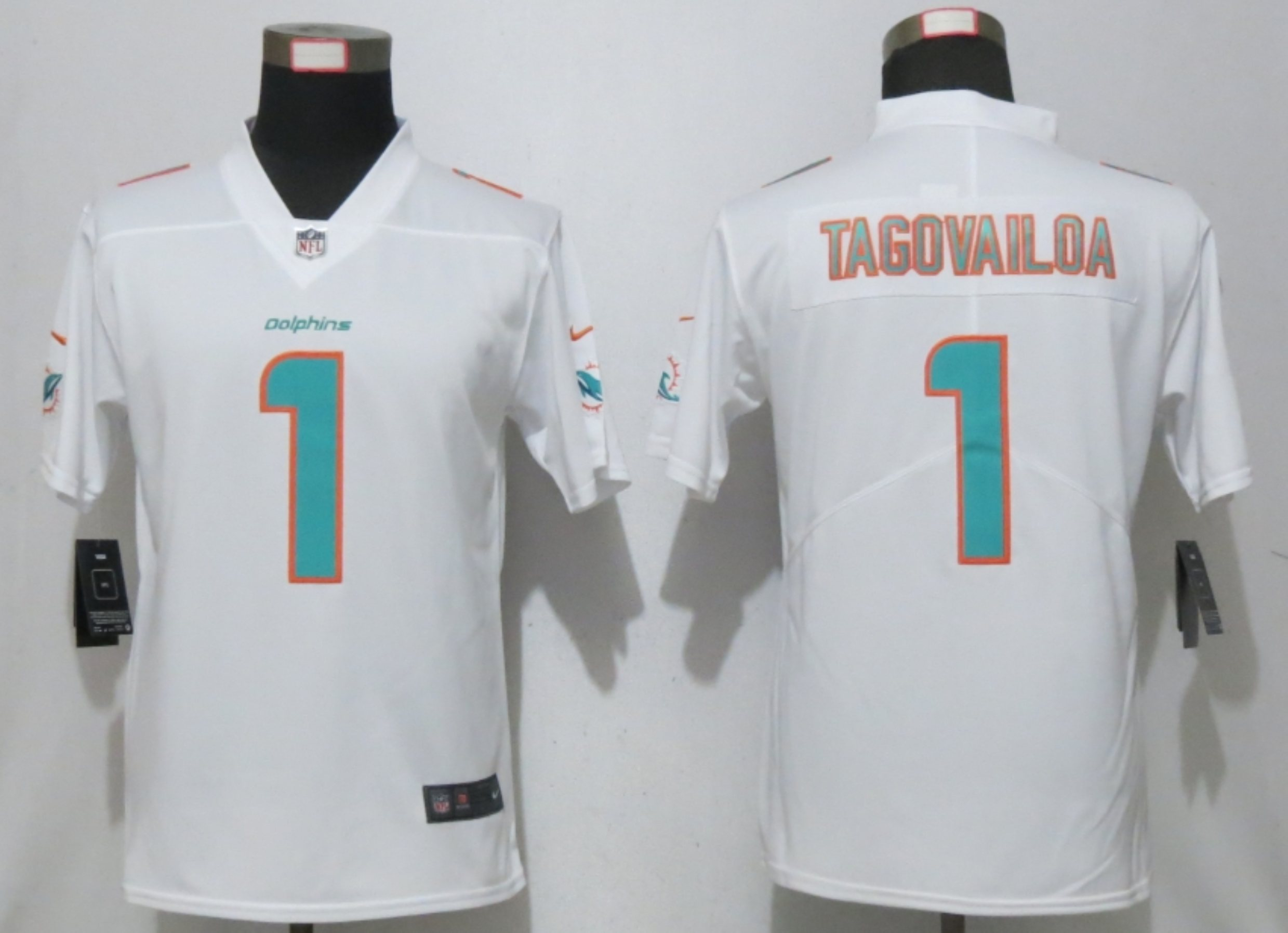 Women New Nike Miami Dolphins 1 Tagovailoa White 2020 Alternate Vapor Elite Playe