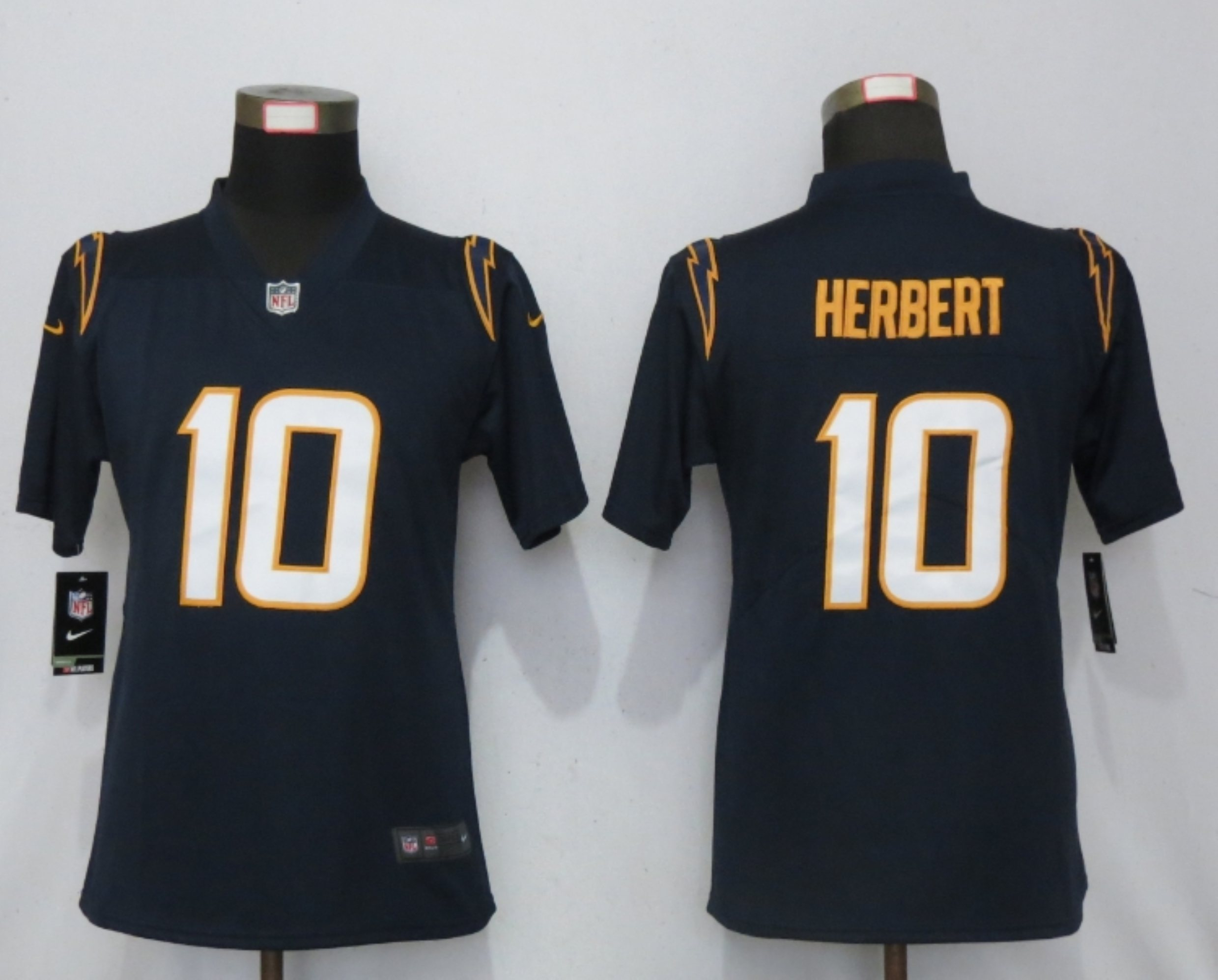 Women New Nike San Diego Chargers 10 Herbert Navy Blue os Angeles Chargers Alternate Elite Playe