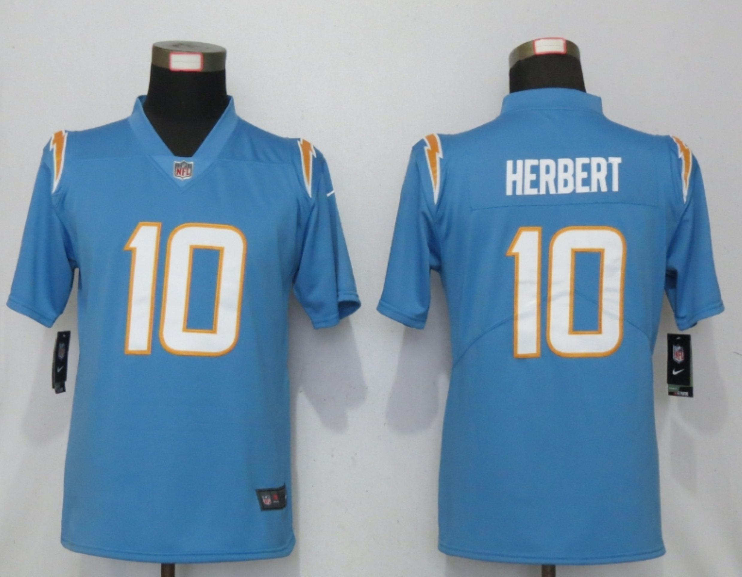 Women New Nike San Diego Chargers 10 Herbert Powder Blue Los Angeles 2020 NFL Draft First Round Pick Elite Playe