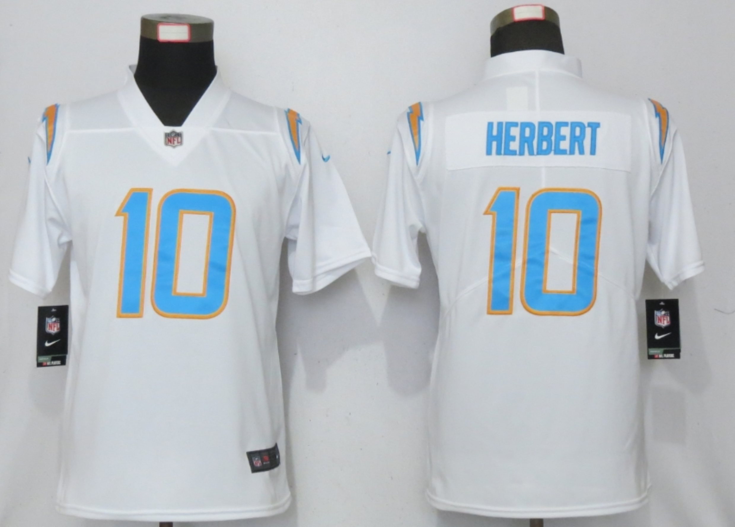 Women New Nike San Diego Chargers 10 Herbert Powder White Los Angeles 2020 NFL Draft First Round Pick Elite Playe