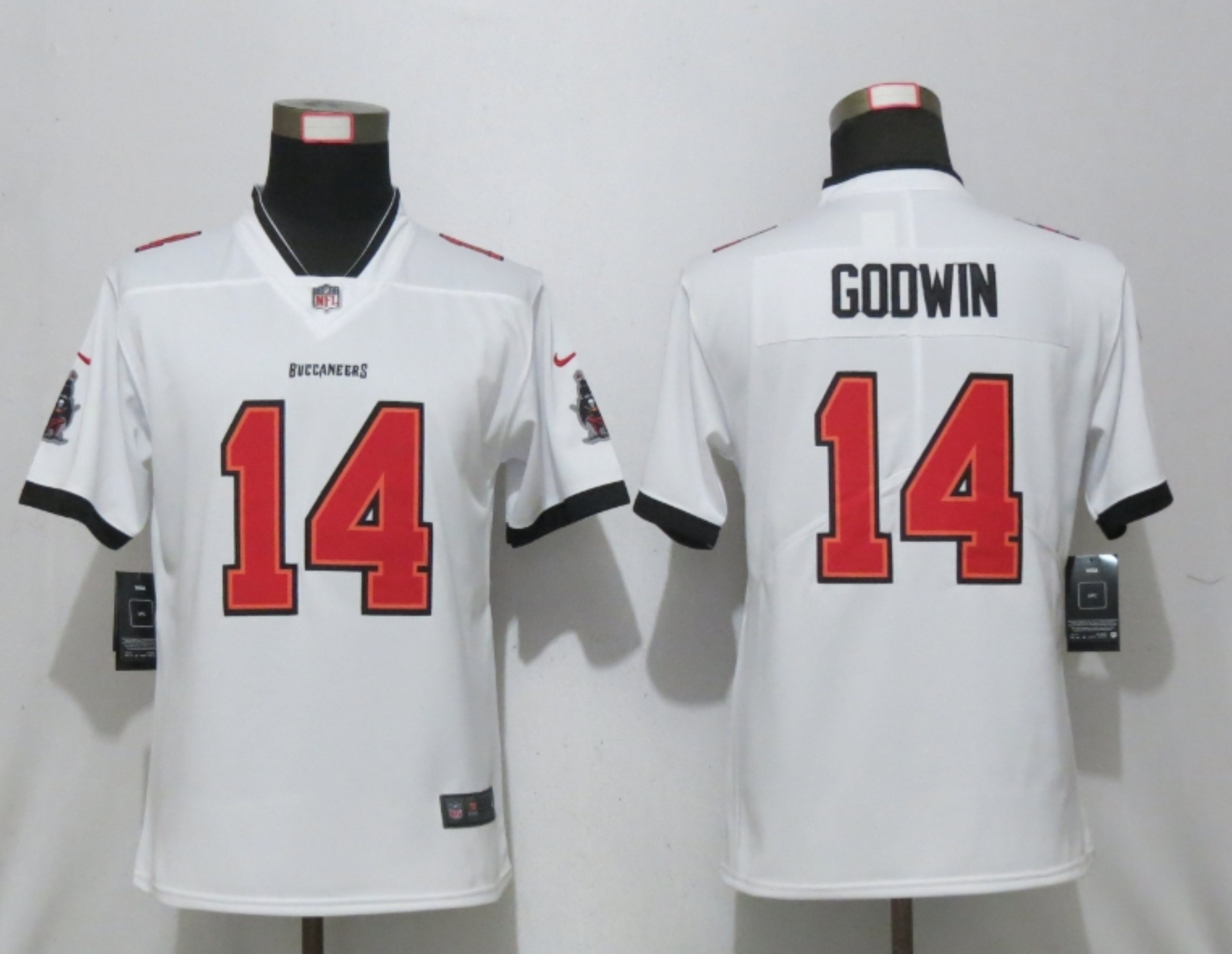 Women New Nike Tampa Bay Buccaneers 14 Godwin Nike White Alternate Vapor Elite Playe