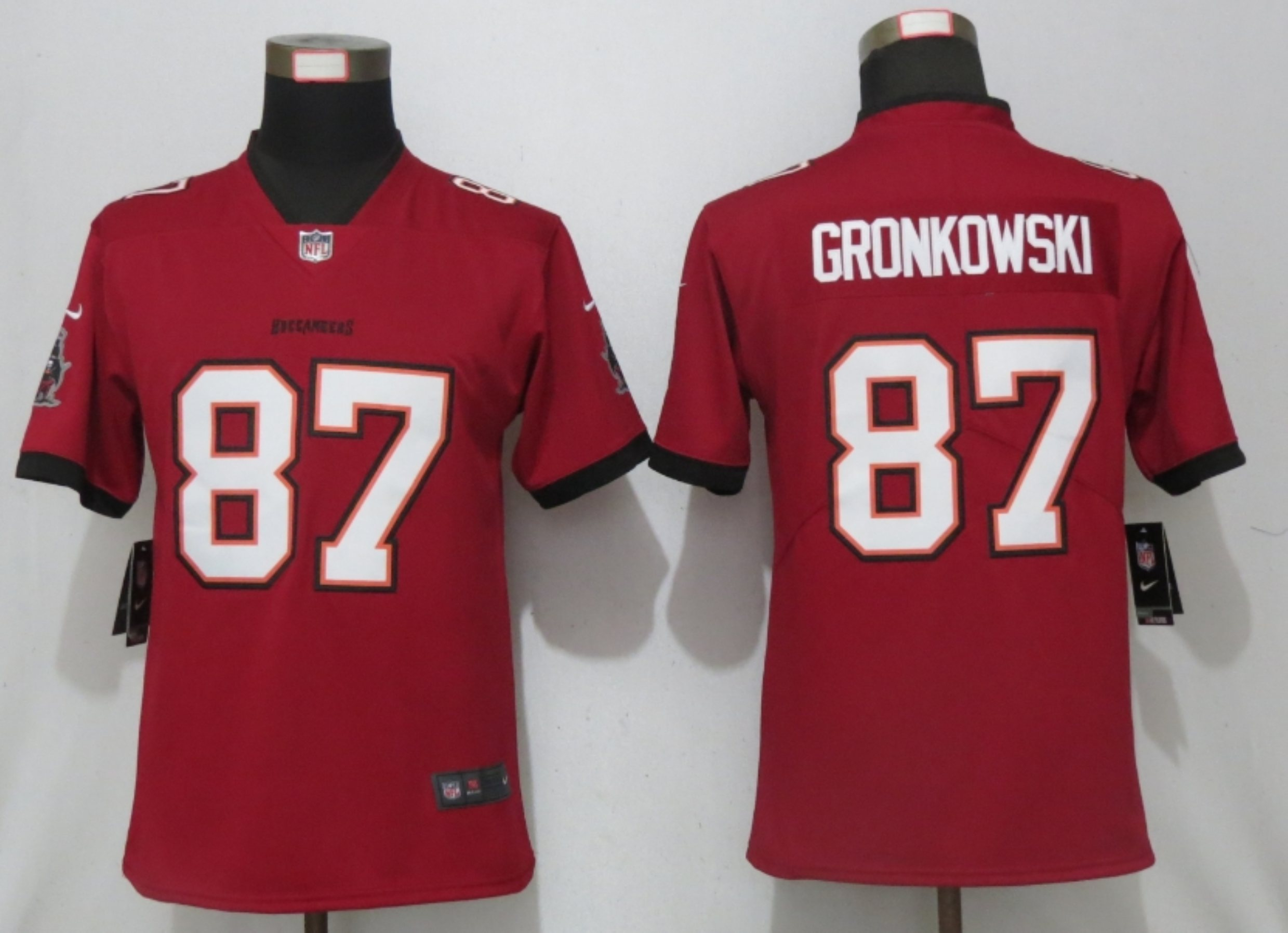 Women New Nike Tampa Bay Buccaneers 87 Gronkowski Nike Red Alternate Vapor Elite Playe
