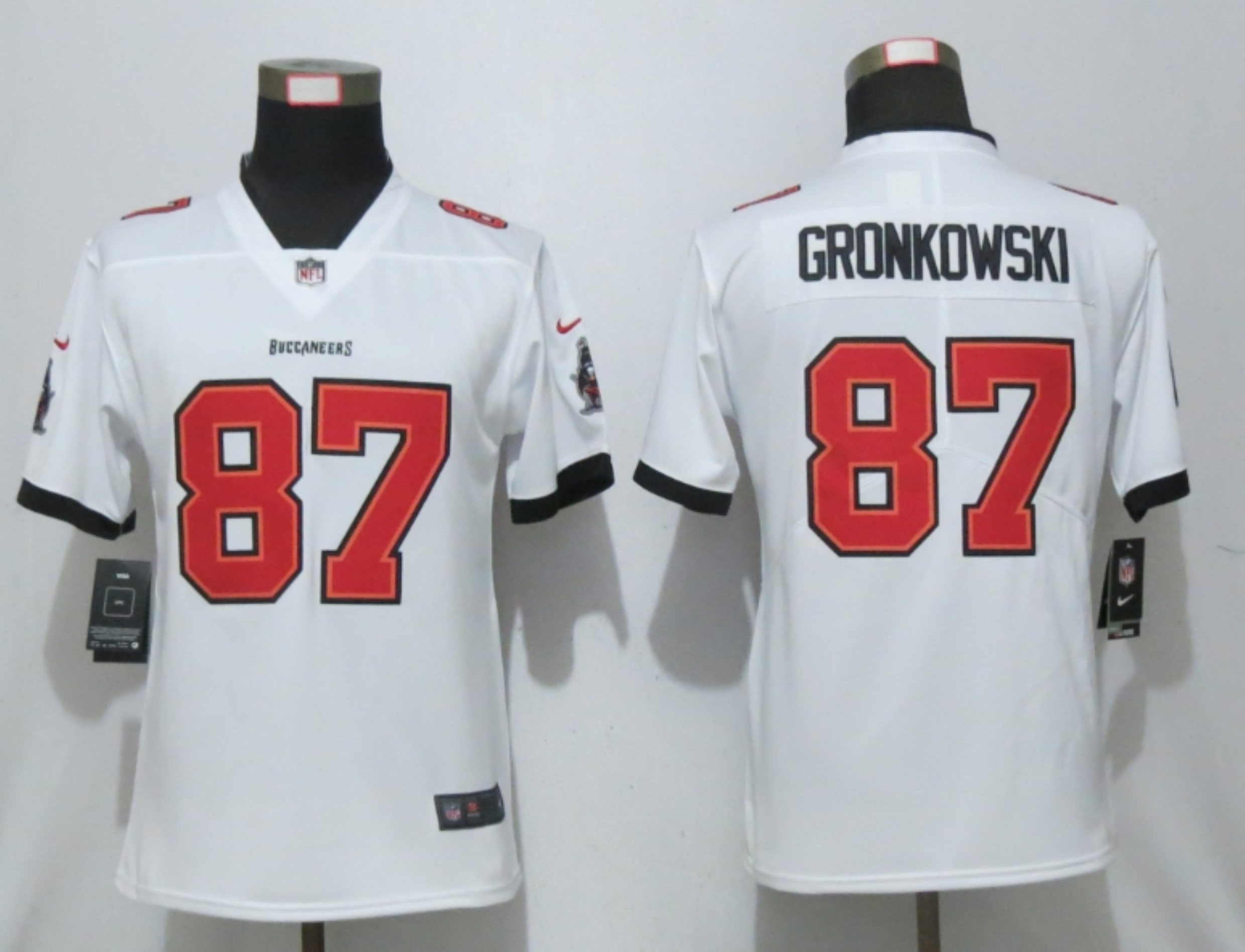 Women New Nike Tampa Bay Buccaneers 87 Gronkowski Nike White Alternate Vapor Elite Playe