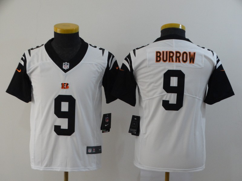 Youth Cincinnati Bengals 9 Burrow white Nike Vapor Untouchable Stitched Limited NFL Jerseys
