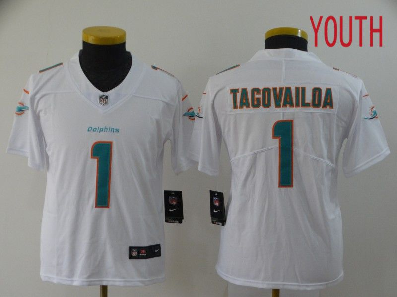 Youth Miami Dolphins 1 Tagovailoa White Nike Vapor Untouchable Stitched Limited NFL Jerseys
