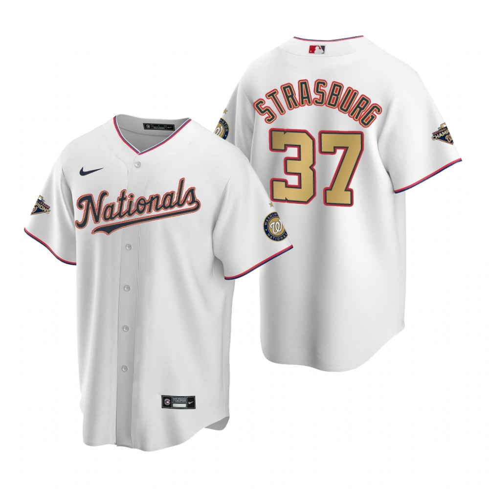 2017 MLB Washington Nationals 37 Strasburg White Game Jerseys