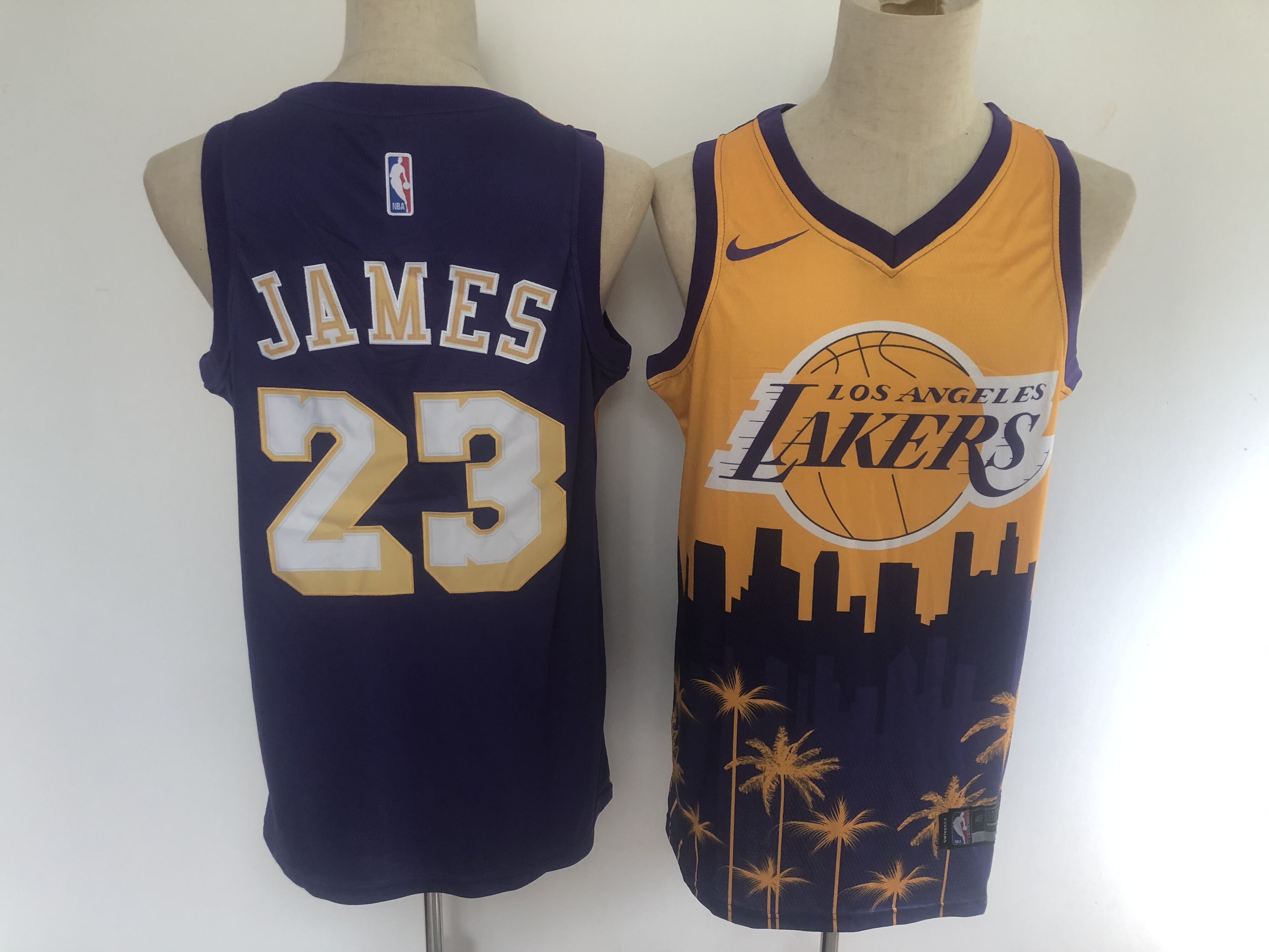 2020 Men Los Angeles Lakers 23 James yellow blue game Nike NBA jersey