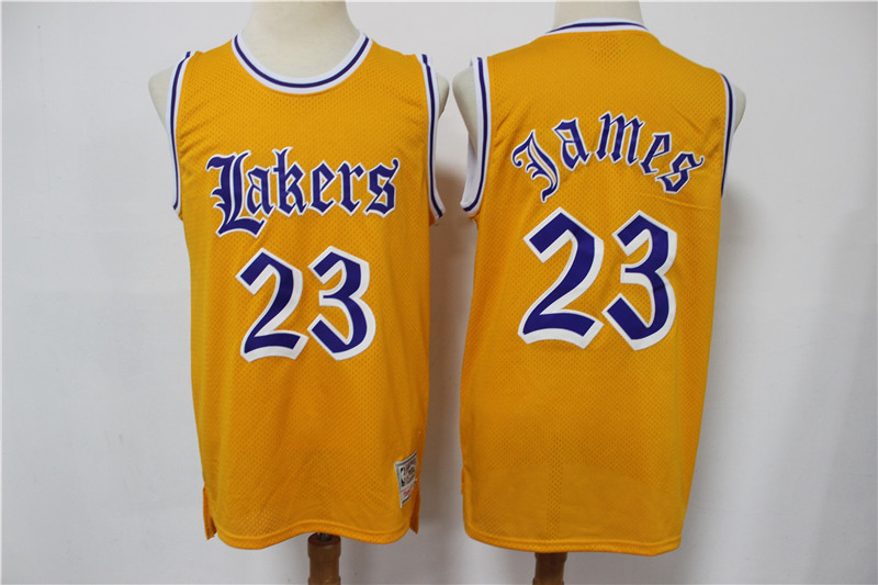2020 Men Los Angeles Lakers 23 James yellow game Nike NBA jersey style 4