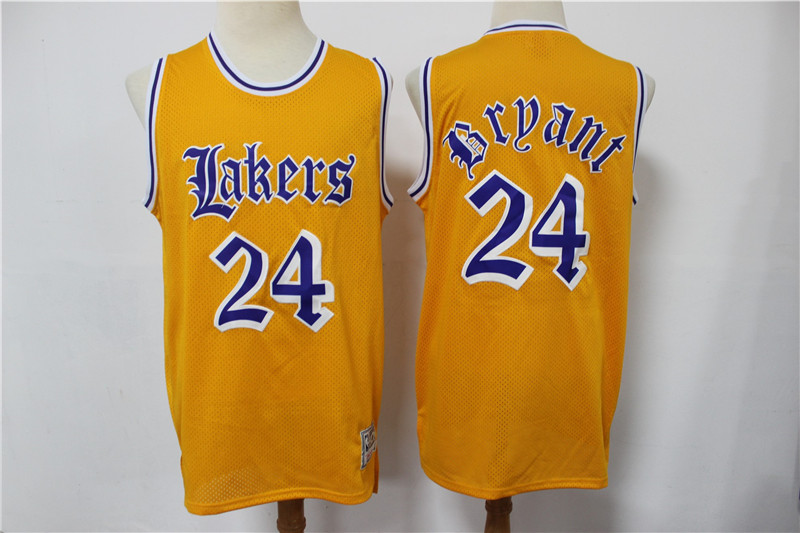 2020 Men Los Angeles Lakers 24 Bryant yellow game Nike NBA jersey style 4
