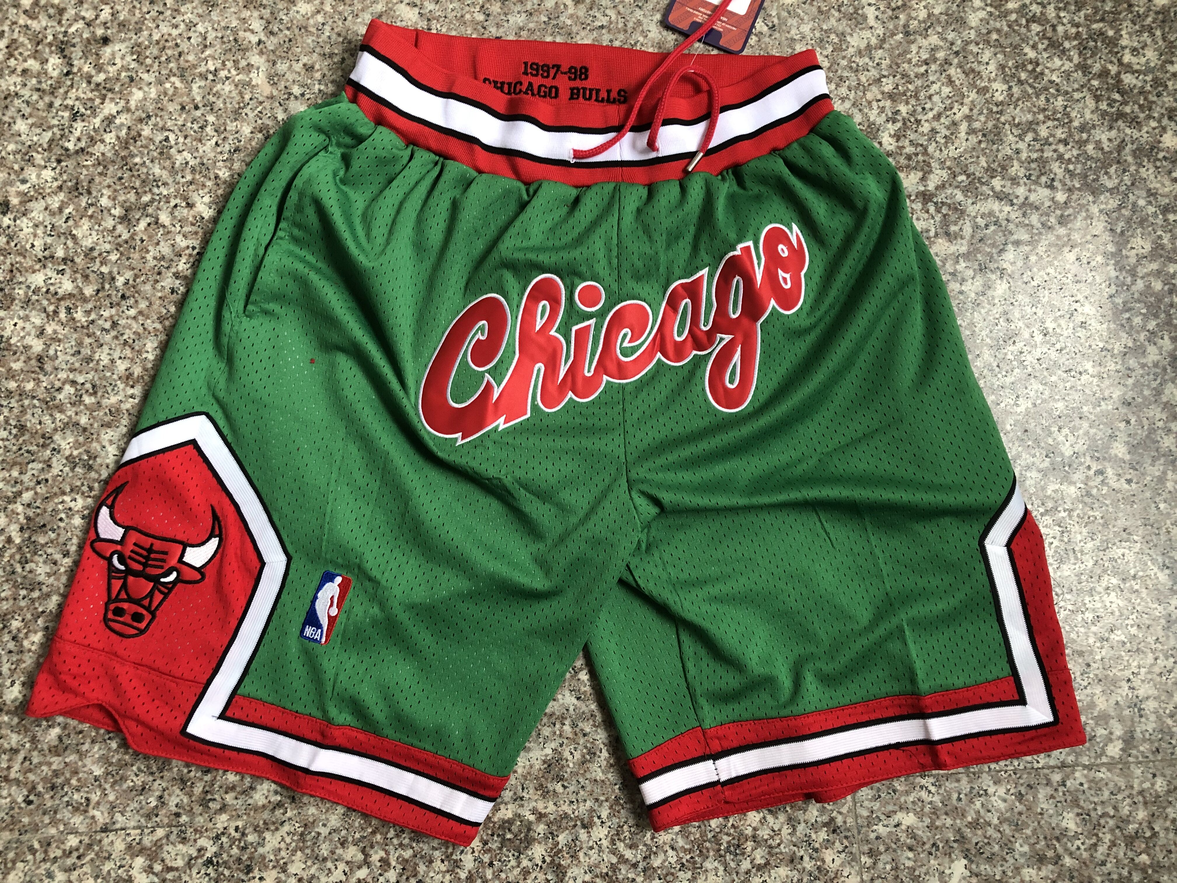 2020 Men NBA Chicago Bulls green shorts style 5