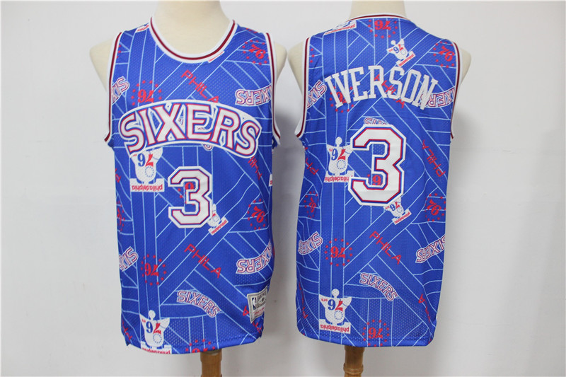 2020 Men Philadelphia 76ers 3 Iverson Blue Nike limited NBA Jersey