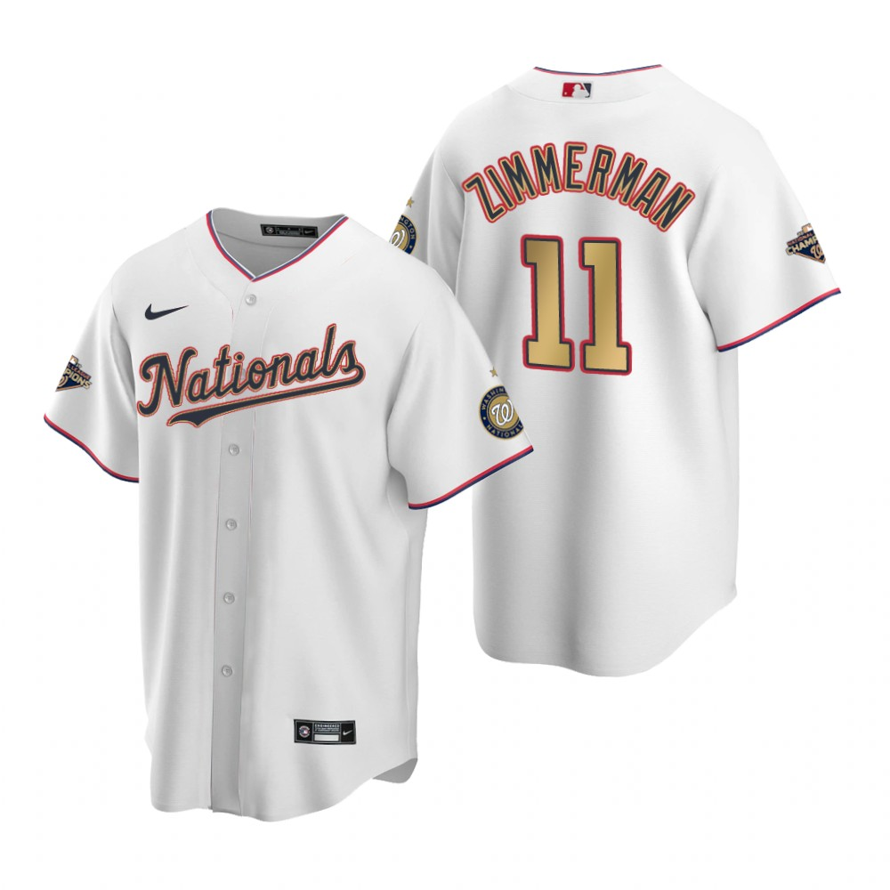 2020 Men Washington Nationals 11 Zimmerman White MLB Jerseys