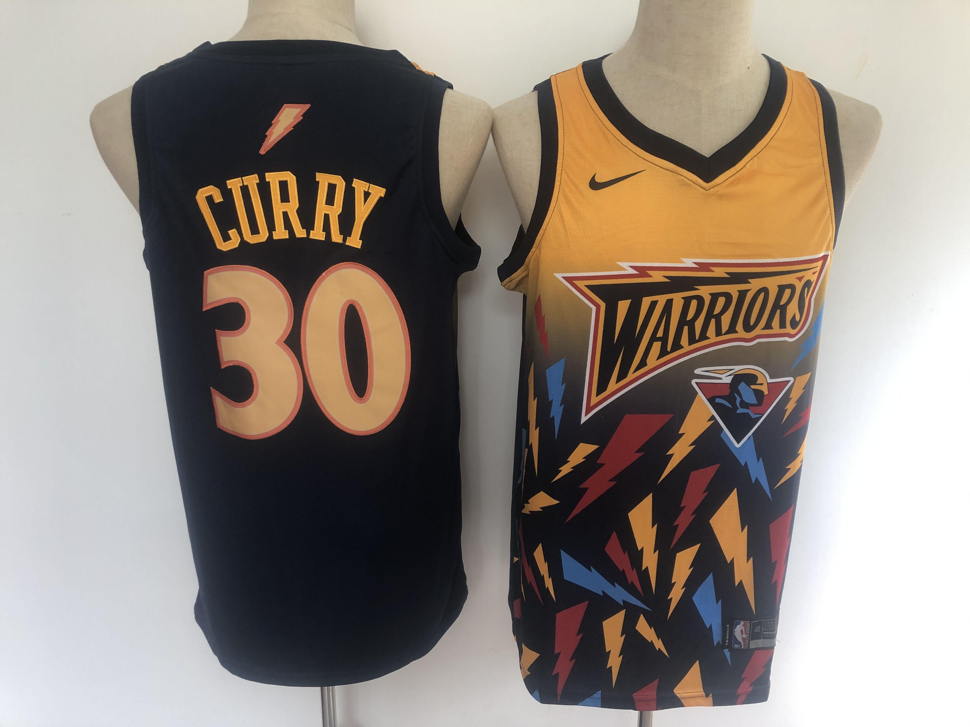 2020 NBA Golden State Warriors 30 Curry black Jerseys 3