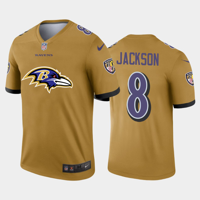2020 Nike NFL Men Baltimore Ravens 8 Jackson yellow Limited jerseys