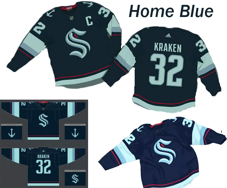 Custom Men New Seattle Kraken Blue nhl jerseys