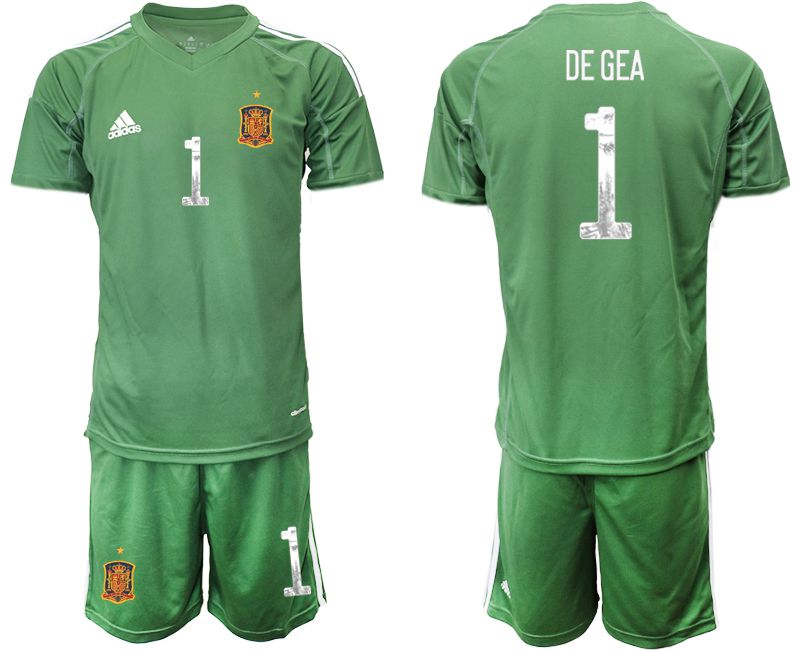 Men 2021 World Cup National Spain army green goalkeeper 1 Soccer Jerseys