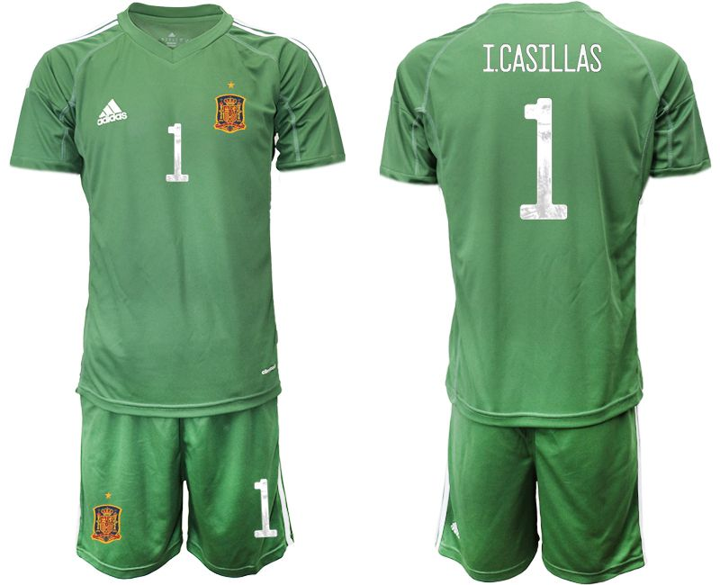 Men 2021 World Cup National Spain army green goalkeeper 1 Soccer Jerseys1