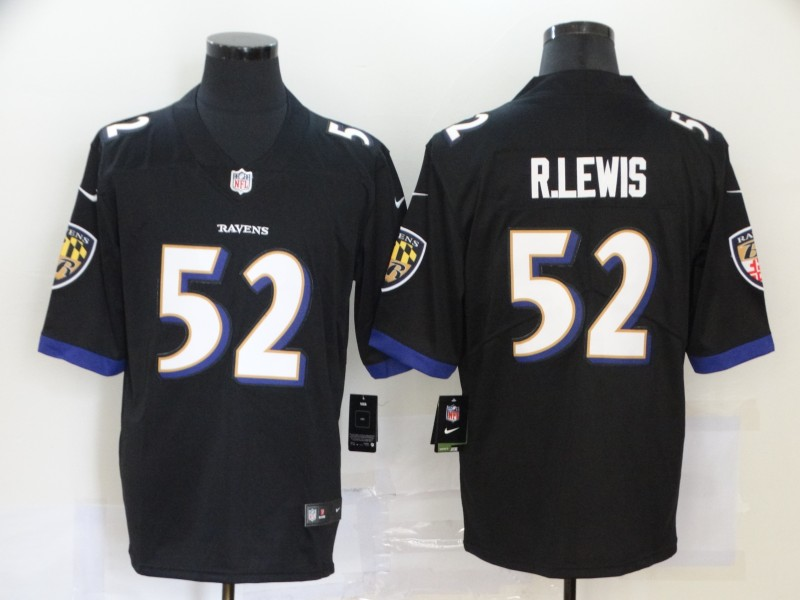 Men Baltimore Ravens 52 R Lewis Black Nike Vapor Untouchable Stitched Limited NFL Jerseys
