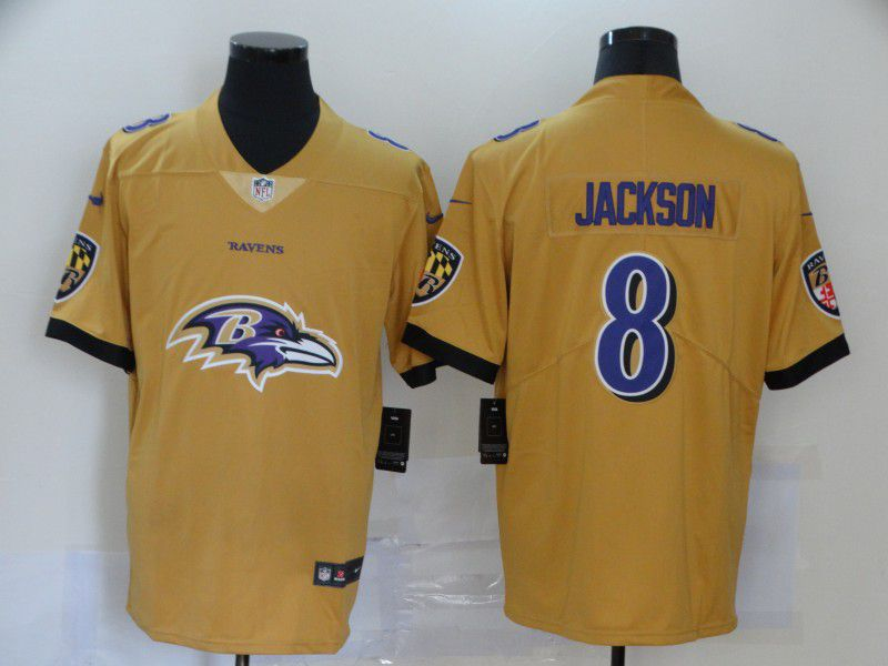 Men Baltimore Ravens 8 Jackson Yellow Nike Team logo fashion NFL Jersey