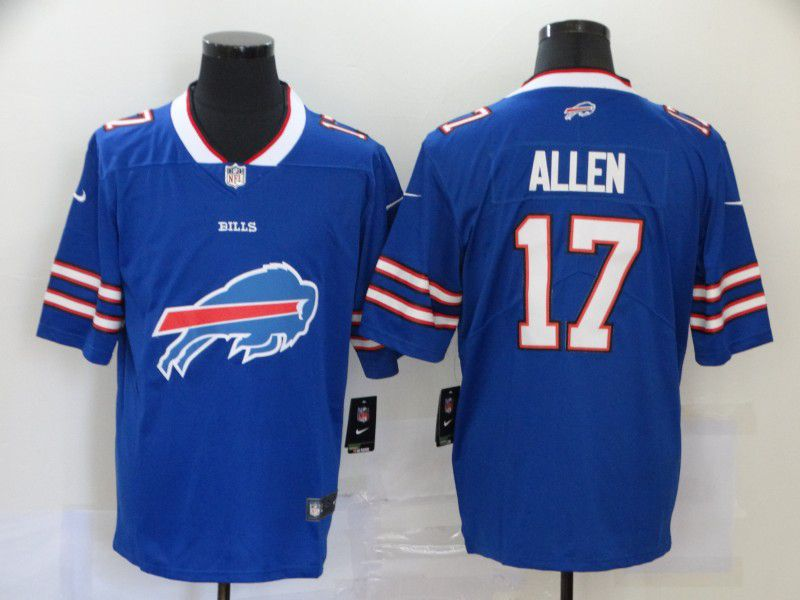 Men Buffalo Bills 17 Allen Blue Nike Team logo fashion NFL Jersey