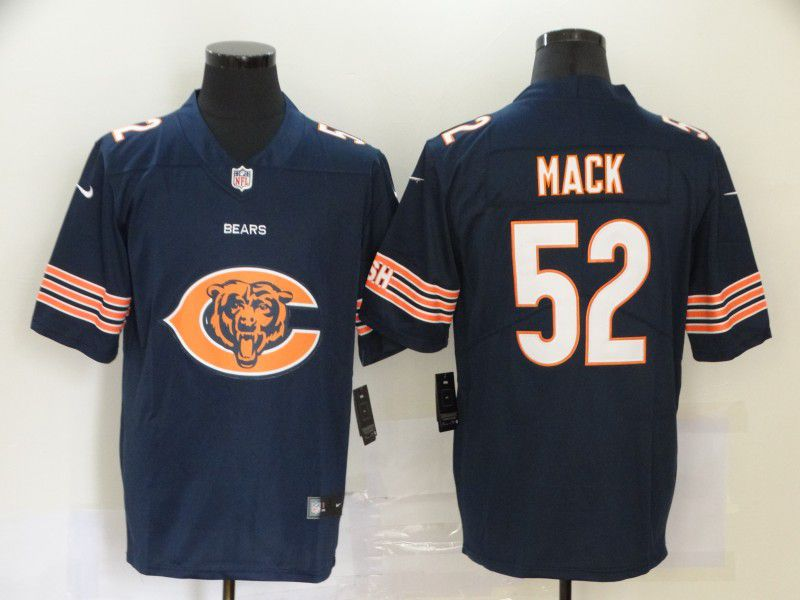 Men Chicago Bears 52 Mack Blue Nike Team logo fashion NFL Jersey