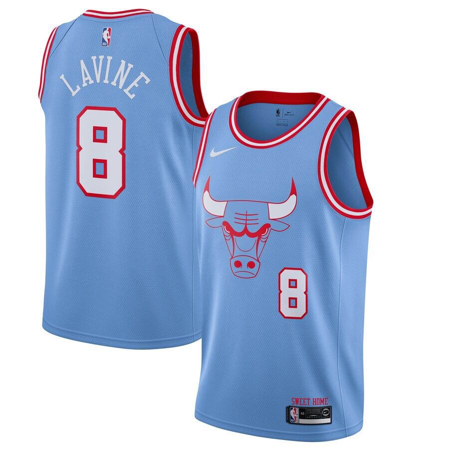 Men Chicago Bulls 8 Lavine light blue City Edition Game Nike NBA Jerseys