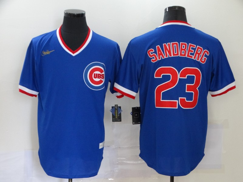 Men Chicago Cubs 23 Sandberg blue logo new MLB Jerseys