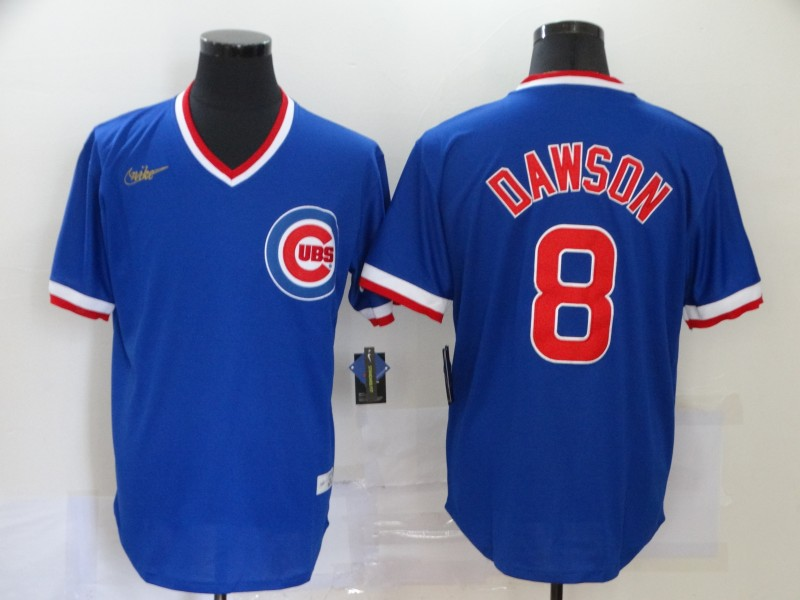 Men Chicago Cubs 8 Dawson blue logo new MLB Jerseys