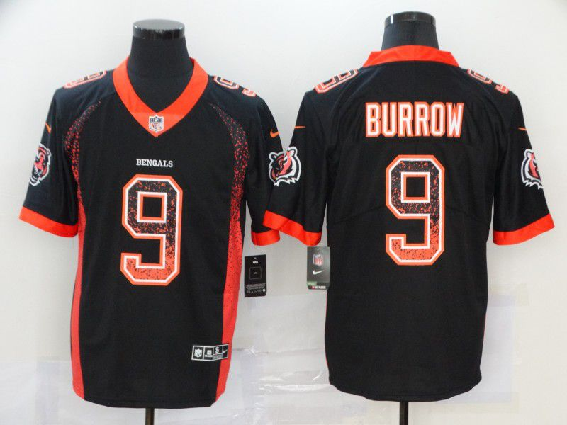Men Cincinnati Bengals 9 Burrow Black Nike Drift Fashion Color Rush Limited NFL Jersey