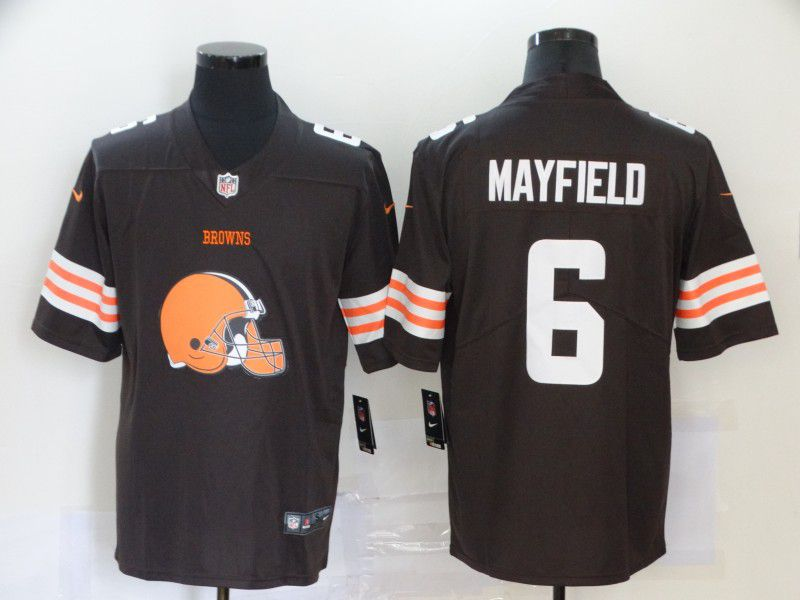 Men Cleveland Browns 6 Mayfield Brown Nike Team logo fashion NFL Jersey