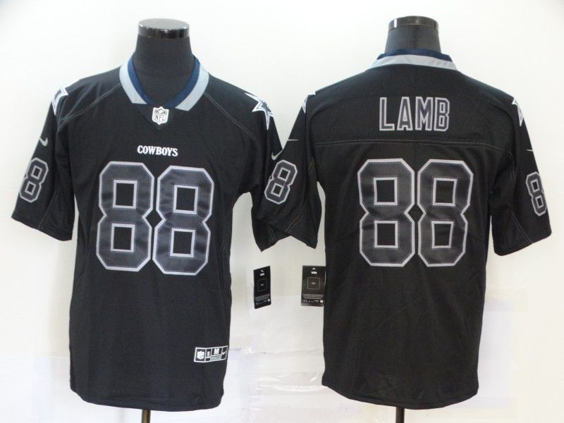 Men Dallas cowboys 88 Lamb Nike Lights Out Black Color Rush Limited NFL Jersey