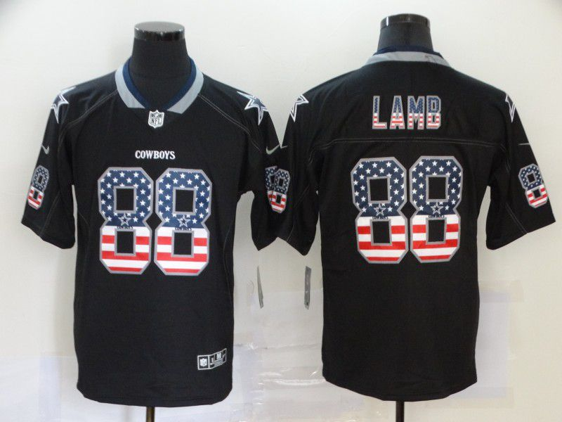 Men Dallas cowboys 88 Lamb Nike USA Flag Fashion Black Color Rush Limited NFL Jersey